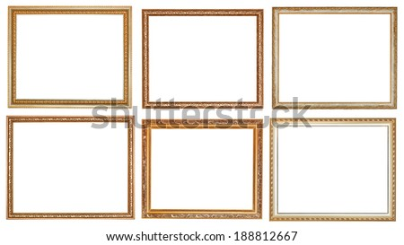 set of ancient classic wooden picture frames with cut out canvas isolated on white background