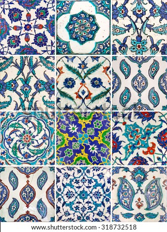Set of ancient traditional handmade tiles, more than 200 years, collection of Islamic ornaments - stock photo