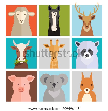 Set of animal icons with a sheep  horse  deer  coe  giraffe  raccoon  pig  koala and squirrel in a depiction of both wildlife  farm animals and domestic pets - stock photo
