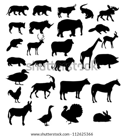 Set of animals silhouette. Raster version.