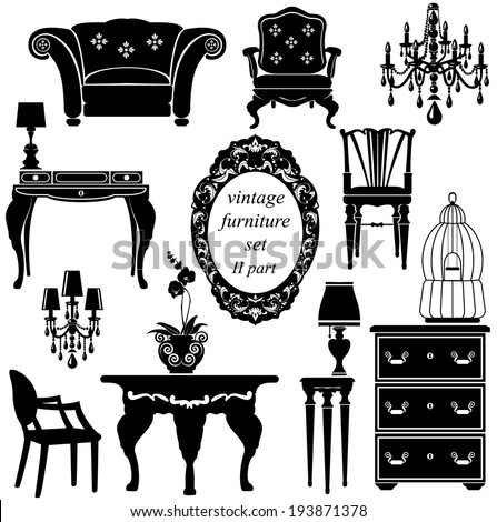 Set of antique furniture - isolated black silhouettes. Raster version