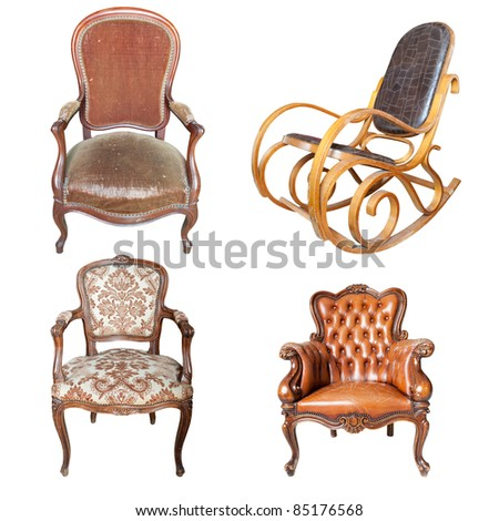 Set of antique leather chair isolated on white background - stock photo