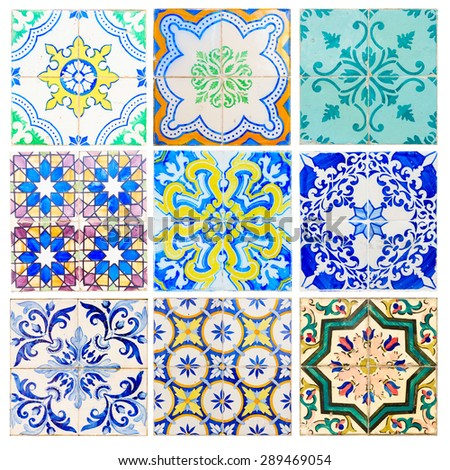 set of antique tiles asulejos of  Portugal - stock photo