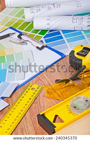 set of architect or designer tools close up - stock photo