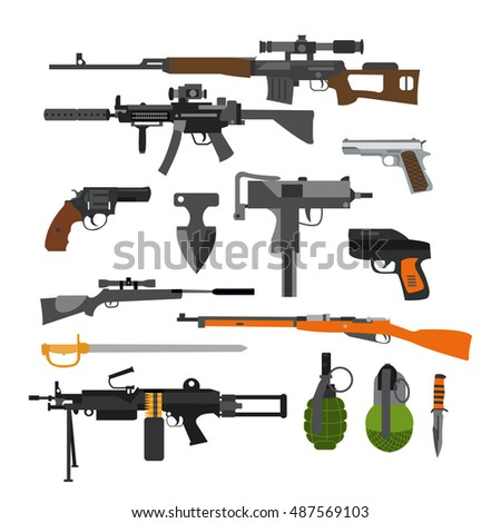 Set of army combat weapons. Icons isolated on white background. Gun, rifles, grenade.