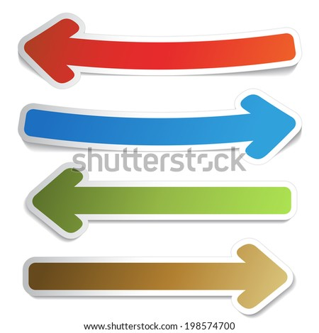 set of  arrows, symbols of here, more, next - stock photo