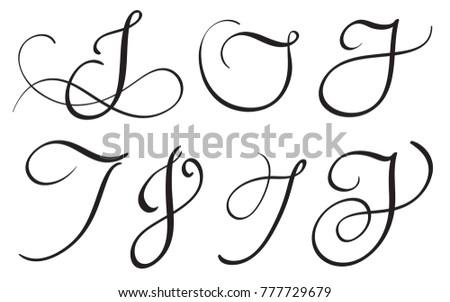 Set Of Art Calligraphy Letter J With Flourish Vintage Decorative Whorls Illustration