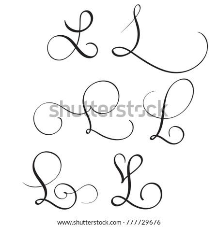 Set Of Art Calligraphy Letter L With Flourish Vintage Decorative Whorls Illustration