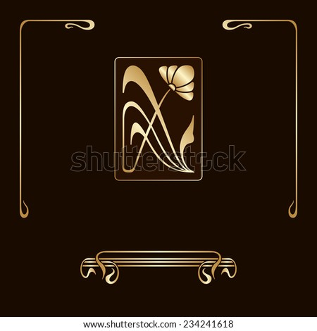 Set of art nouveau decorative elements for design, print, embroidery. Raster version. - stock photo