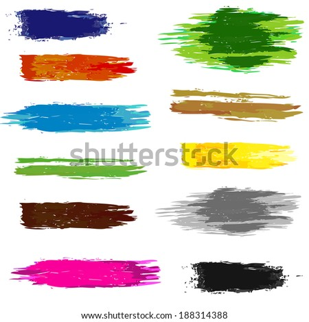 Set of artistic colorful brush grunge lines