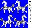 Set of Artistic Horses, Raster Version - stock photo
