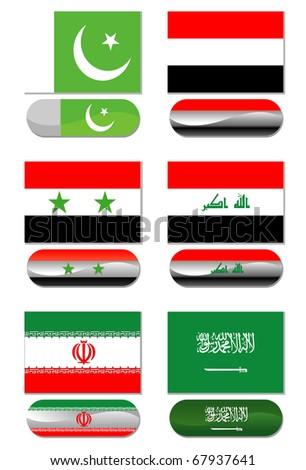 Set of Asia Flags - stock photo
