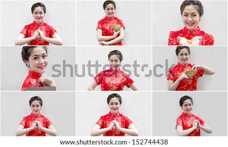 set of Asian Chinese woman in Traditional Chinese Cheongsam gesturing