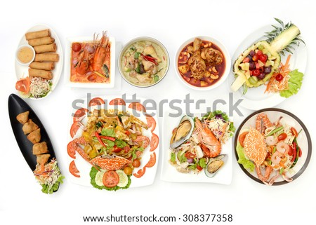 Set of Asian Cuisine food Vietnams Thai Chinese at restaurant