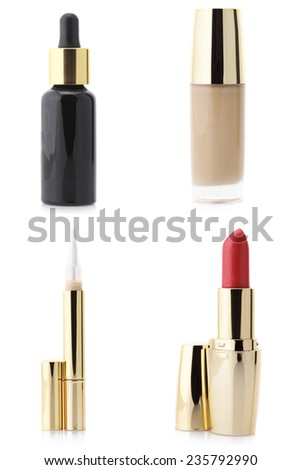 Set of assorted cosmetic products isolated on white background: serum, foundation, concealer and lipstick. - stock photo