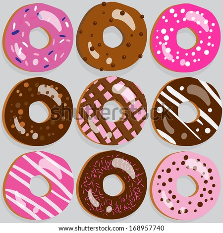 Set of 9 assorted donut icons with different toppings - stock photo