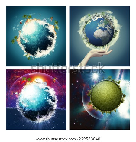 Set of assorted environmental backgrounds for your design. NASA imagery used - stock photo