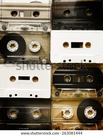 Set of audio cassettes - stock photo