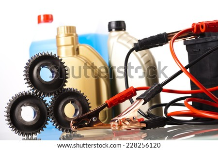 Set of auto parts,  car battery - stock photo