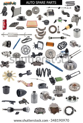 Set of auto spare parts. Car shop