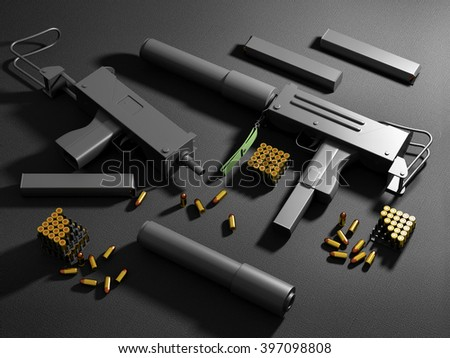 Set of Automatic 9mm Machine Guns with Accessories on black background. Military Weapons Concept. 3D Rendering - stock photo