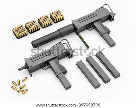 Set of Automatic 9mm Machine Guns with Accessories on white background. Military Weapons Concept. 3D Rendering - stock photo