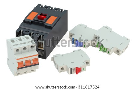 Set of automaticcircuit breakers isolated on white background - stock photo