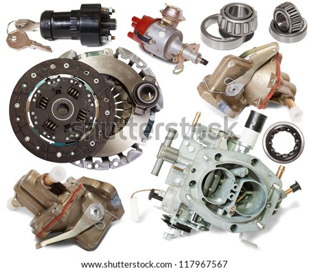 Set of automotive spare parts. Isolated on white background