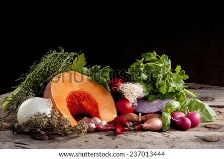 set of autumn flavors, for soup - stock photo