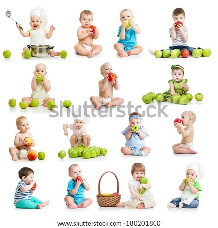 set of babies and kids eating apples, isolated on white - stock photo