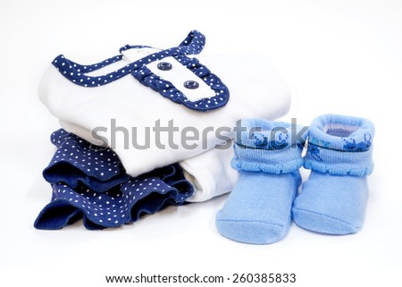 Set of Baby dress with sock, Blue color, on white back ground