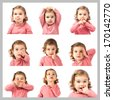 Set of baby expressions over white background - stock photo