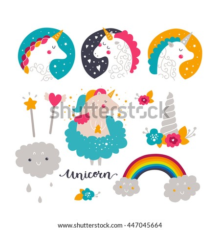 set of baby unicorn and rainbow kids illustrations for design prints cards and birthday