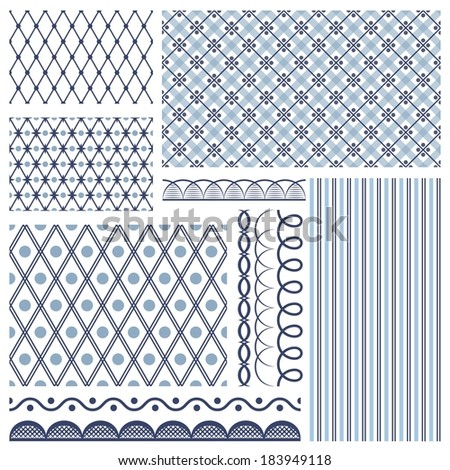 Set of backgrounds, borders, edging. In style russian gzhel - stock photo