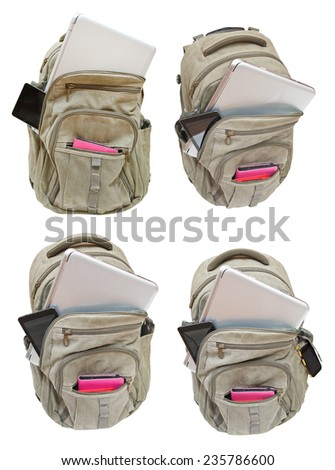 set of backpacks with mobile devices isolated on white background - stock photo