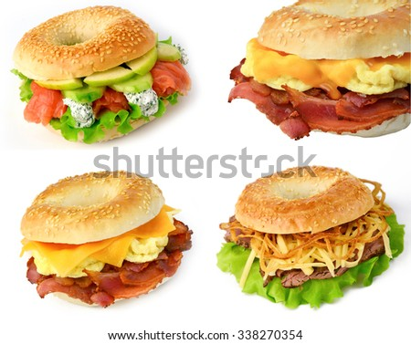 Set of bagel sandwiches for breakfast: bagel with smoked salmon and cream cheese, bacon, egg and cheese bagel, roast beef. cheese and onion rings bagel. Isolated on white