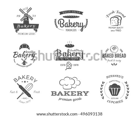 Set of bakery labels, icons, badges and design elements, symbols. Fresh bread, cakes logo templates. Monochrome vintage style. Cupcake emblem. Can be use for cafe, shop. illustration