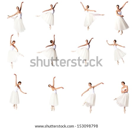 Set of 16 ballerina  pictures doing classical excesses - stock photo