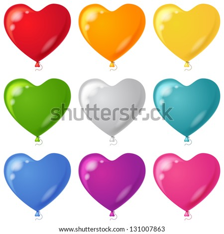 Set of balloons in the form of hearts various beautiful colors, isolated, , contains transparencies.