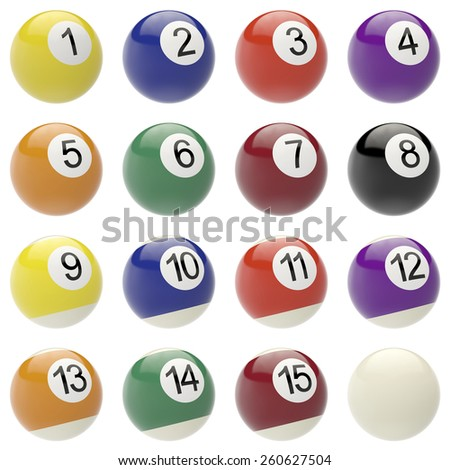 Set of balls for billiards. 3d high resolution image - stock photo