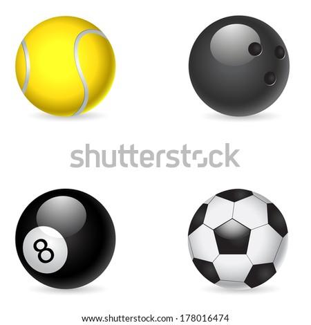 Set of balls isolated on white background. - stock photo