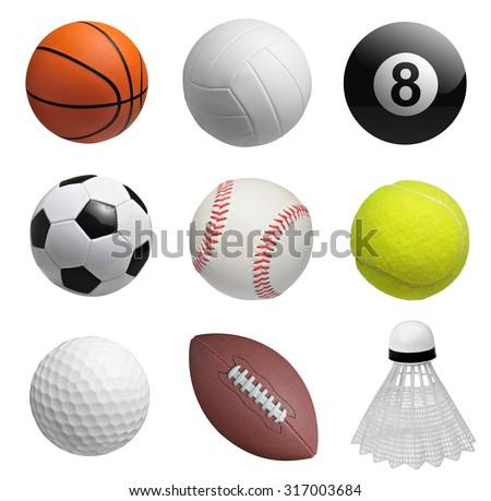 Set of balls isolated on white background - stock photo