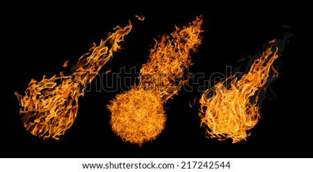 set of balls of fire isolated on black background - stock photo