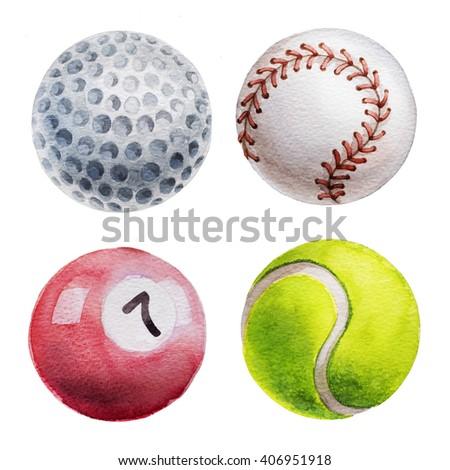 Set of 4 balls. Watercolor illustration. Tennis, golf, billiard and baseball balls. - stock photo