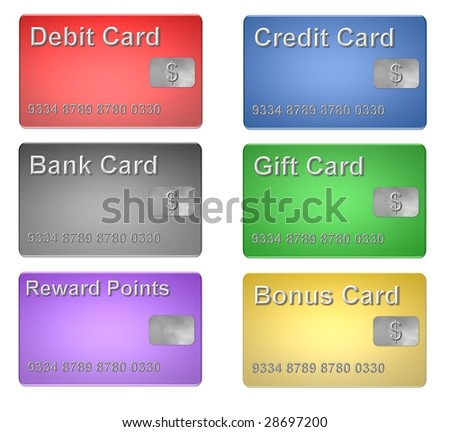 set of bank cards
