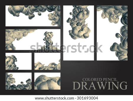 Set of banners and business cards with abstract clouds of ink drawn by hand with colored pencils. Watercolor in water. Holi. Liquid ink. Pencil drawing. Place for text. Black and white - stock photo