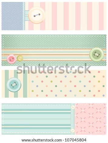 Set of banners in shabby chic style. Rasterized version of vector illustration - stock photo