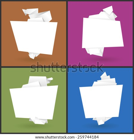 Set of 4  banners in the form of origami paper on a colorful  background - stock photo