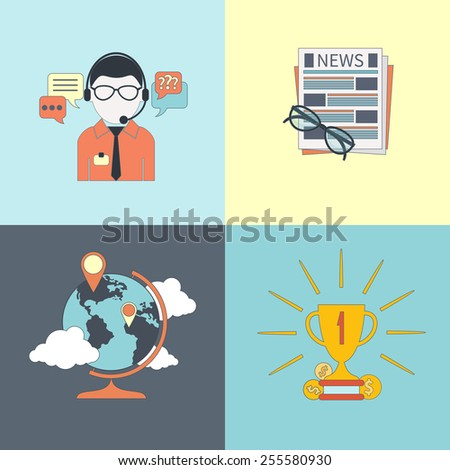 Set of banners online consulting, news, location and mission item icons in flat design. Raster version - stock photo