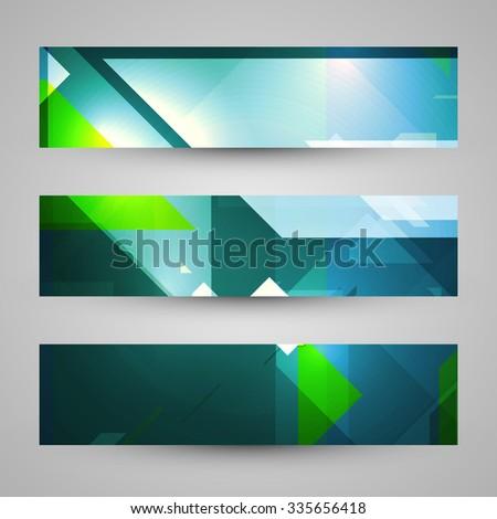 Set of banners, technology art illustration - stock photo